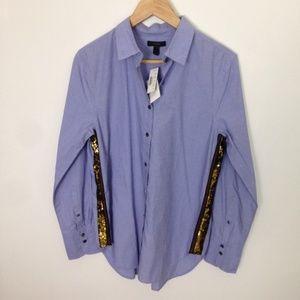 J. Crew Women Long Sleeve Sequin 8 Cotton Shirt